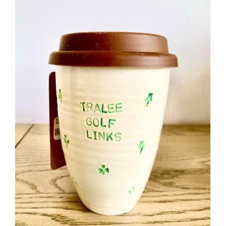 Handmade Pottery Coffee Mug Shamrocks-12oz